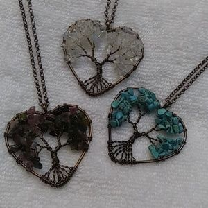 Jewelry - Natural stone copper heart necklace